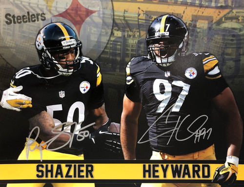 Ryan Shazier & Cameron Heyward Steelers 11-1 Signed 11x14 Photo