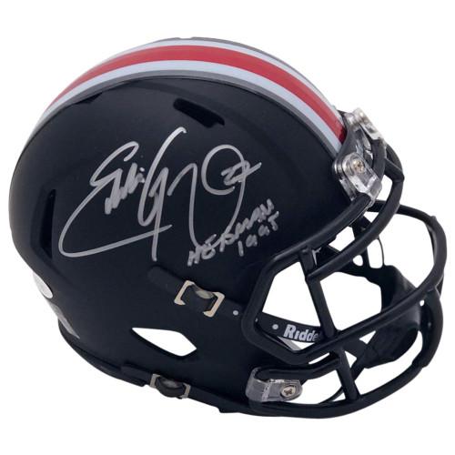 Eddie George Autographed Ohio State Buckeyes Riddell Black Alternate Speed Mini Helmet - H.T. 95 Inscription - JSA
