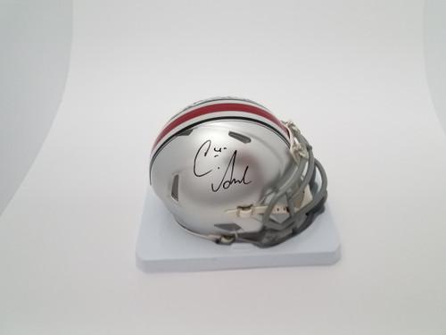 Curtis Samuel Autographed Ohio State Buckeyes Autographed Riddell Silver Speed Mini Helmet