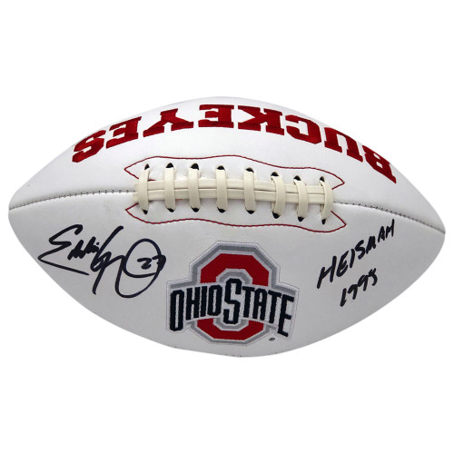 Eddie George Autographed Ohio State Buckeyes White Panel Football - Heisman 1995