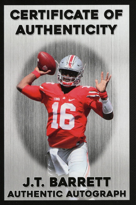 JT Barrett Autographed Ohio State Buckeyes White Panel Football - Personal Hologram - Certified Authentic