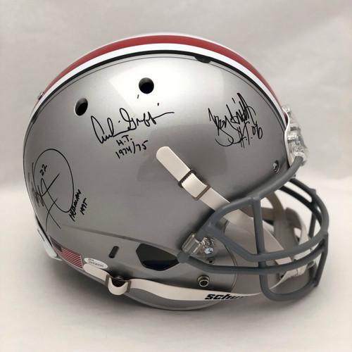 3 Heisman OSU Autographed Replica Helmet - JSA Authentic