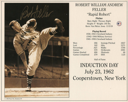 Bob Feller Cleveland Indians 8-5 8x10 Autographed Photo - Certified Authentic