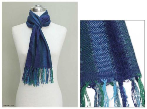 100% alpaca scarf 'Ocean Depths'
