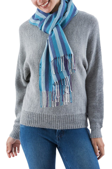 100% alpaca scarf 'Huascaran Sky'