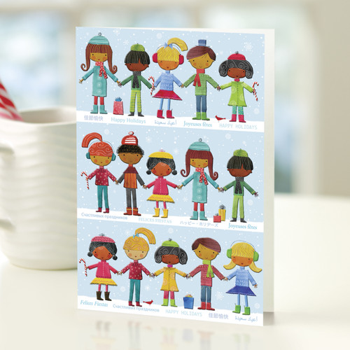 Happy Children UNICEF Holiday Greeting Cards (Set of 12) 'Hand-in-Hand'