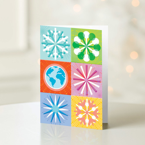 Set of 12 UNICEF Greeting Cards 'Snowflakes and Globe'
