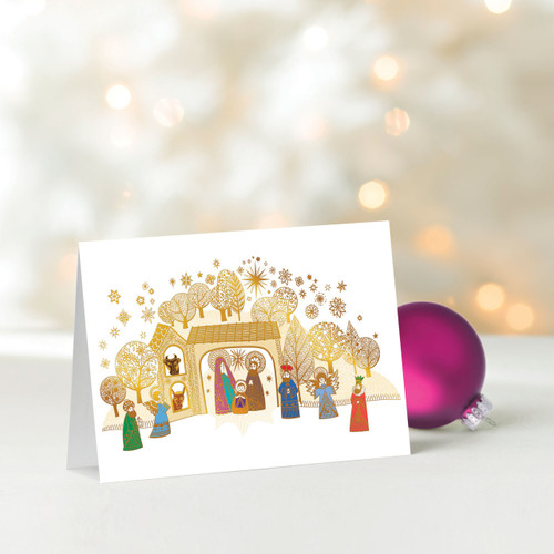 Set of 12 UNICEF Christmas Greeting Cards 'Golden Nativity'