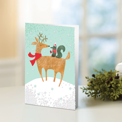 Set of 12 UNICEF Greeting Cards 'Reindeer and Squirrel'