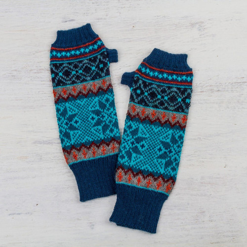 100% Alpaca Fingerless Gloves in Azure and Smoke from Peru 'Andean Snowfall'