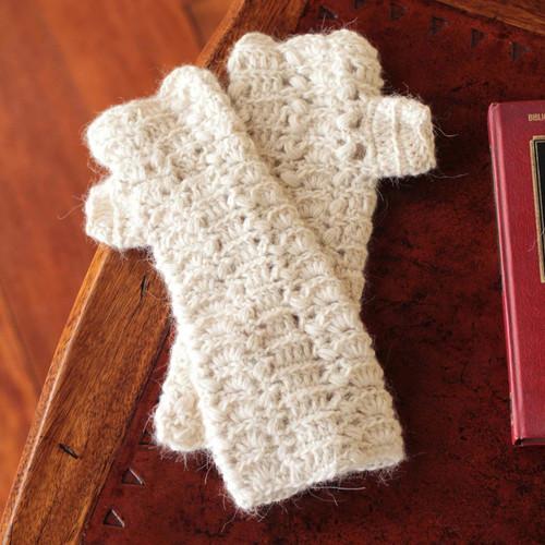 100% alpaca fingerless mittens 'Ivory Fans'