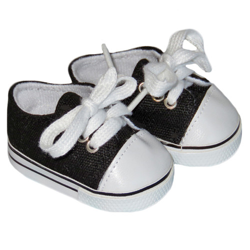 Black Low-Rise Canvas Sneakers for 18 inch dolls