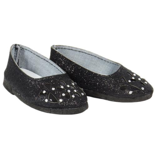 18 inch doll shoes - Black Sparkle Floral Cutout Flats