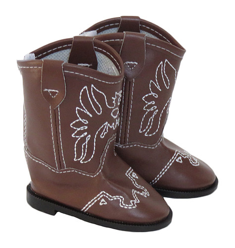 Brown Cowboy Boots for 18 inch boy or girl doll.