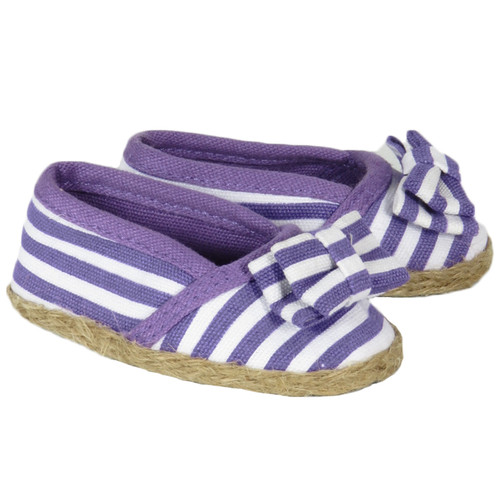 18 inch doll shoes - Purple and White Striped Shoes