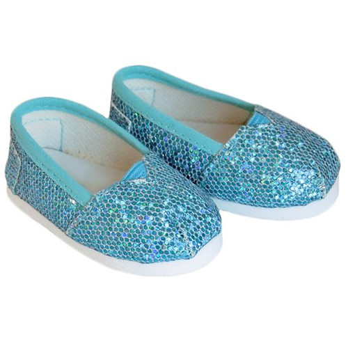 American Girl doll shoes - Turquoise Sparkle Slip-On Shoes