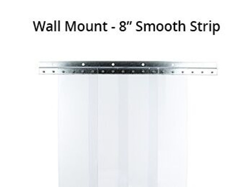 "Vinyl Strip, PVC, 8"" Wide Curtains, Wall Mounting Bracket"
