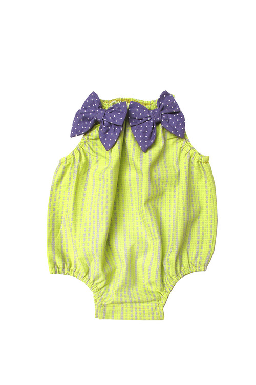 Sophie Catalou Girls Infant Citron/Lavender Printed Baby Bubble 3m-12m