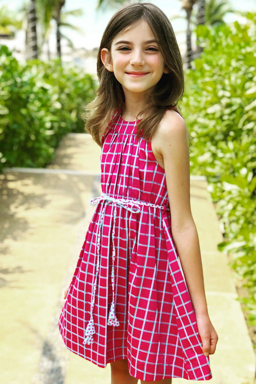 Sophie Catalou Girls Toddler & Kids Fuchsia Check Dress 3-12y