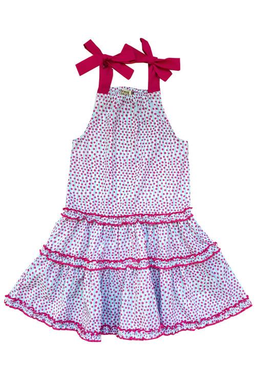 Sophie Catalou Girls Toddler & Kids Seafoam & Pink Polka Dot Dress 4-6y