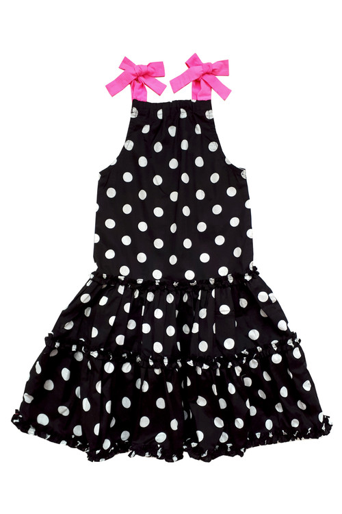 Toddler & Kids Black & White Polka Dot Dress