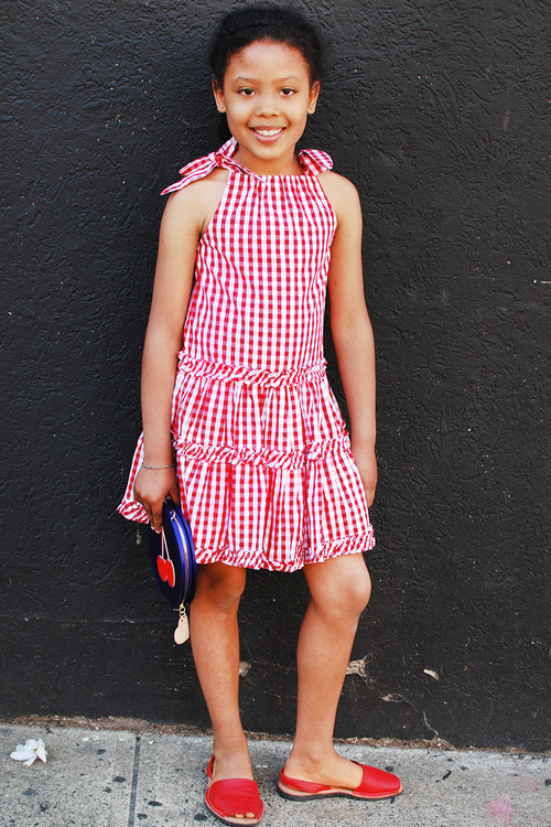 Toddler & Kids Bandana Red Plaid Tiered Dress