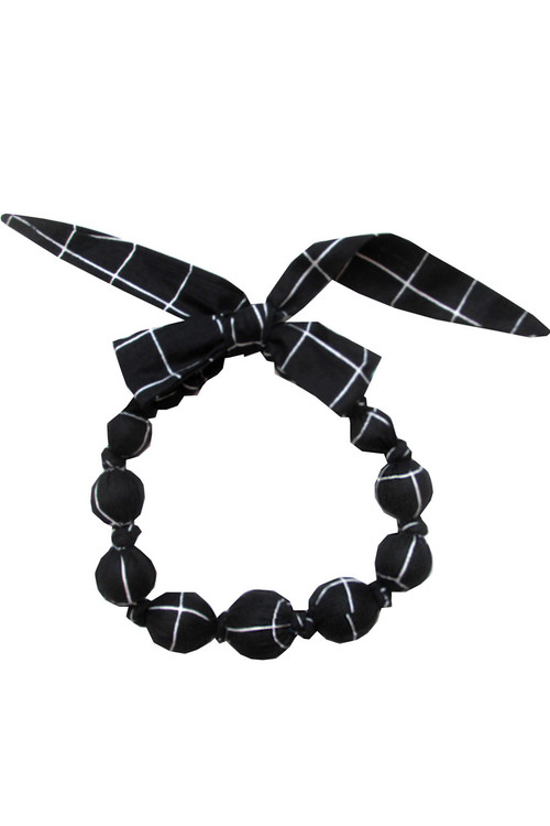 Black Check Wooden Bead Necklace