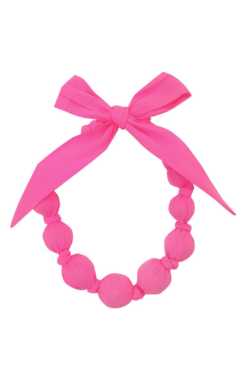 Neon Pink Wooden Bead Necklace