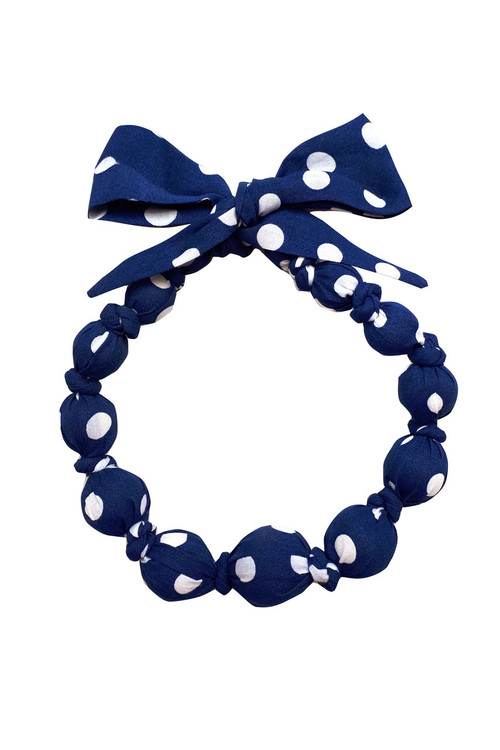 Navy Dot Wooden Bead Necklace