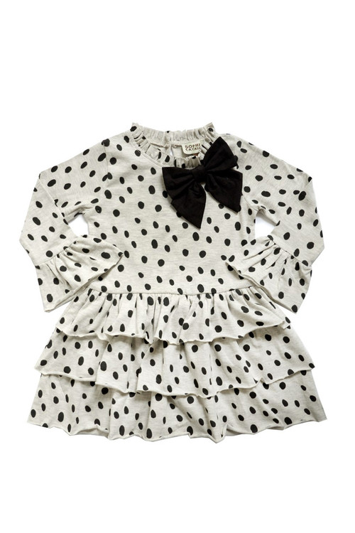 Toddler & Kids Dalmatian Knit Bow Dress