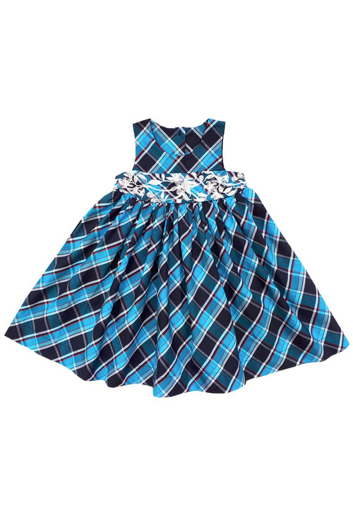 Toddler & Kids Teal Plaid Embroidered Dress