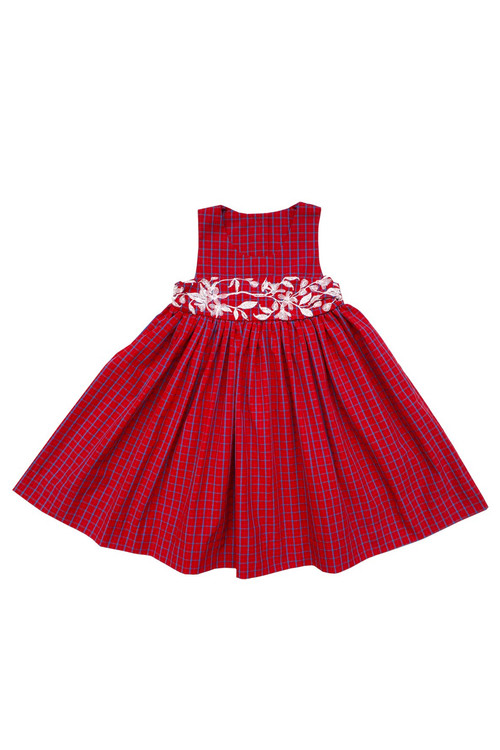 Toddler & Kids Red Plaid Embroidered Dress