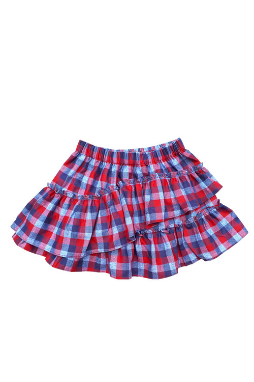 Sophie Catalou Girls Toddler & Kids Red Plaid Ruffle Short Skirt 2-12y