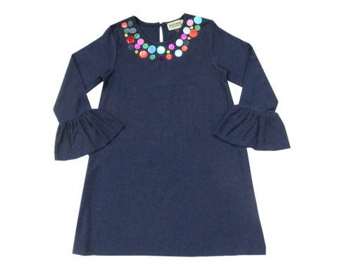 Sample Sale Navy Melange Sequin Collar dress