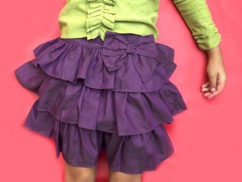 Sample Sale Purple Chambray Ruffle Skirt