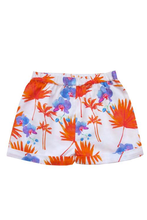 Sample Sale White & Orange Palm Beach Shorts