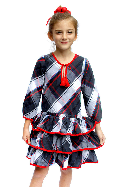 Sample Sale Black & Red Plaid Ruffle Dress
