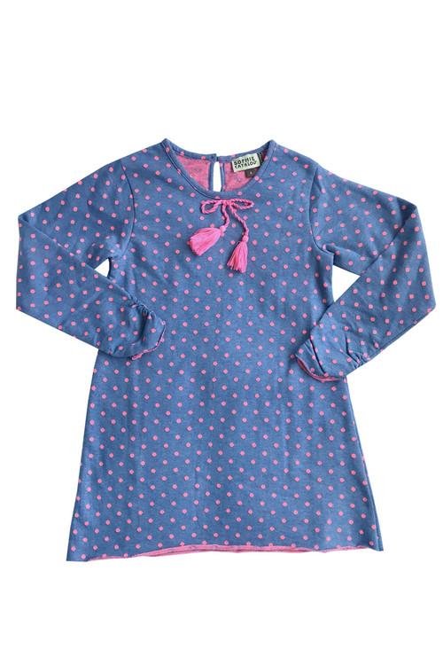 Sample Sale Polka Dot Knit Blue Shift Dress