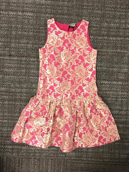 Sample Sale Bubblegum and Gold Lace Dress
