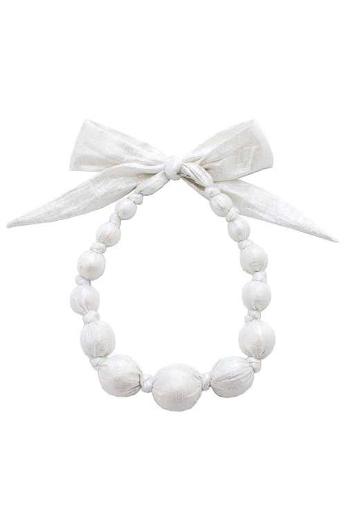Sophie Catalou Girls Metallic Silver Wooden Bead Necklace