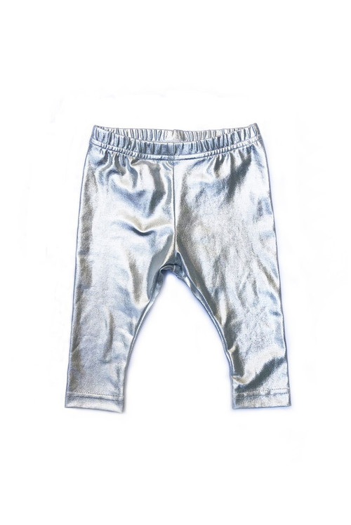 Sophie Catalou Girls Toddler & Kids Metallic Silver Leggings 2-10y