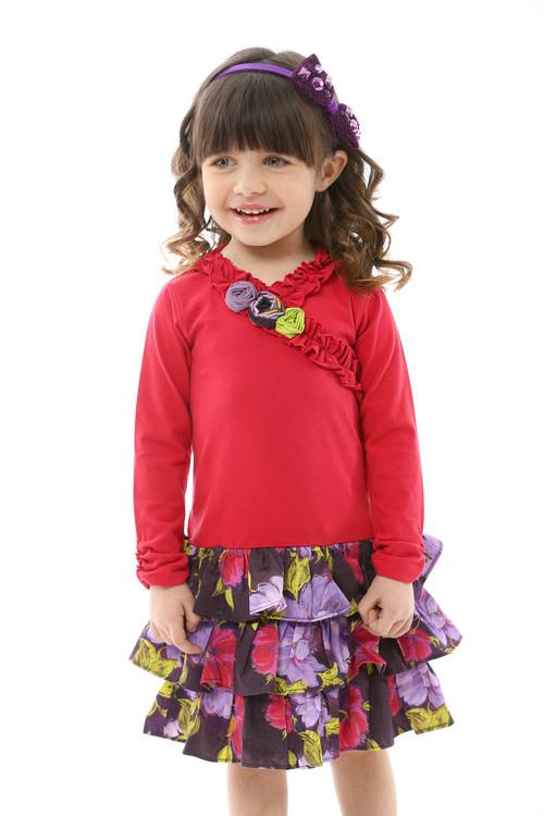 Infant Toddler & Kids Raspberry / Violet Drop-Waist Dress