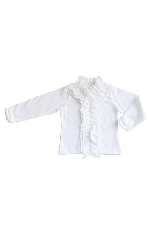 Toddler & Kids White Ruffle Knit Top