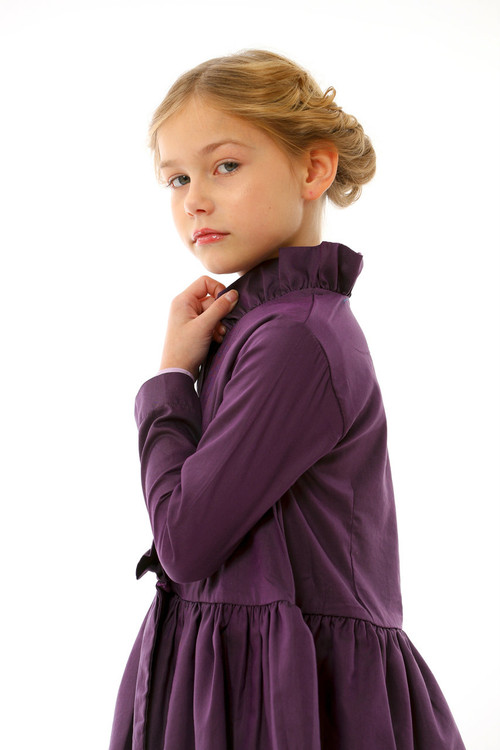 Sophie Catalou Girls Toddler & Kids Purple Chambray Jacket 2-10y