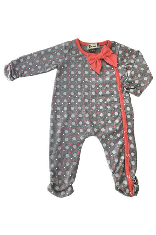 Sophie Catalou Girls Infant Dark Melange Polka Dot Coverall 6m-9m