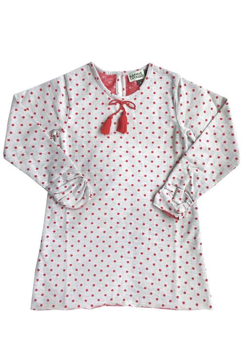 Sophie Catalou Girls Toddler & Kids Polka Dot Knit Ecru Shift Dress 4-8y