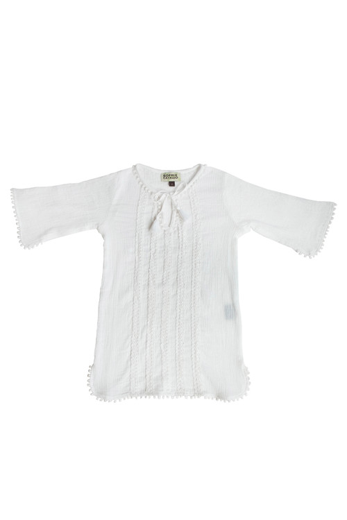 Sophie Catalou Girls Toddler & Kids White Crinkle Tunic 2-12y