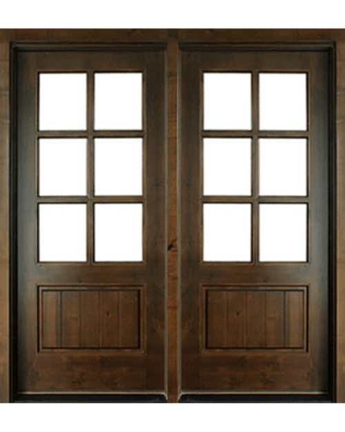 6-LITE TDL KNOTTY ALDER DOUBLE ENTRY DOOR WITH CLEAR BEVELED LOW-E GLASS (6/8) & 6-LITE TDL KNOTTY ALDER DOUBLE ENTRY DOOR WITH CLEAR BEVELED LOW-E ...
