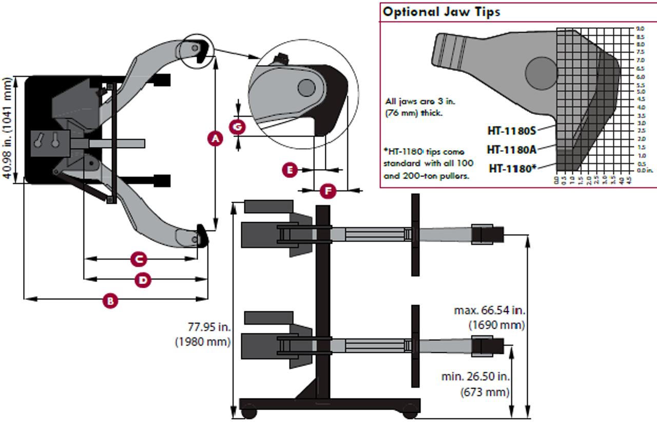 Posi Lock Puller 102 : Posi lock ph tda portable ton hydraulic pullers