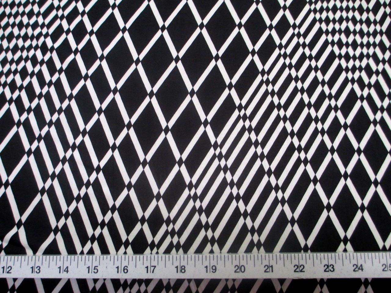 Discount Fabric Printed Lycra Spandex Stretch Black White Geometric Diamond B201